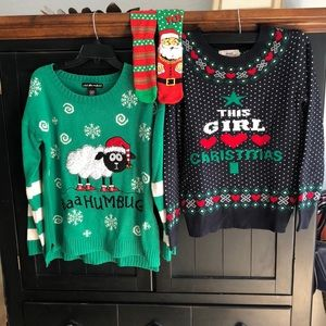 Sweaters - Two ugly Christmas sweaters and 1 pair crazy socks